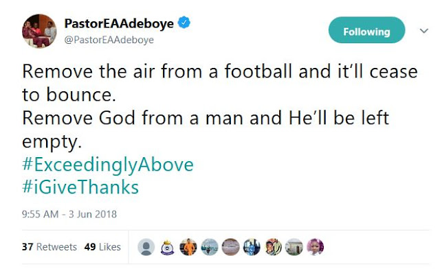 See what Pastor Adeboye said about foootball