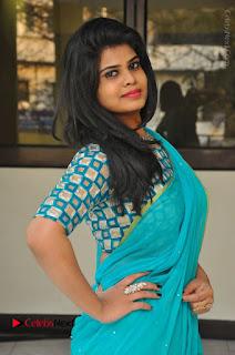 Telugu Actress Alekhya Stills in Green Saree at Swachh Hyderabad Cricket Press Meet  0011.JPG