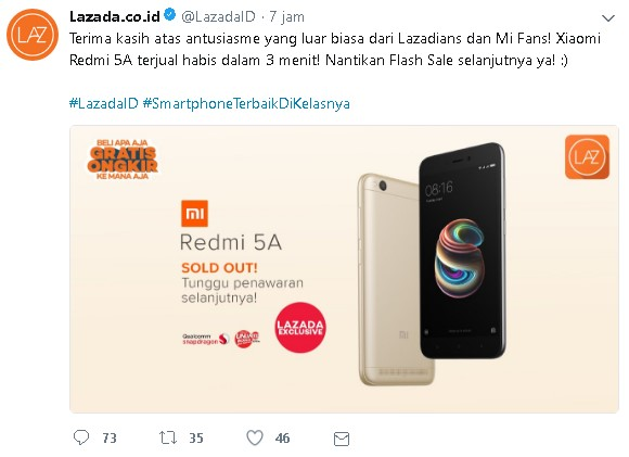 Twitter Lazada - Xiaomi Redmi 5A
