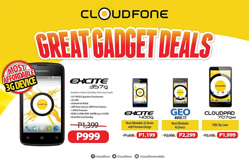 CloudFone Announced Great Gadget Deals, Get Geo LTE For Just 2999 Pesos! The Most Affordable Local LTE Handset Yet!