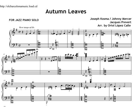 Autumn Leaves (Piano Jazz) Sheet Music and Midi File