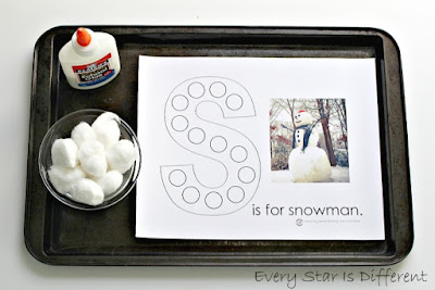 S is for snowman learning activity and free printable.