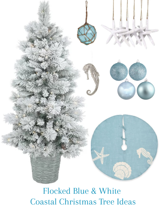 Flocked Blue White Coastal Christmas Tree Decor Ideas