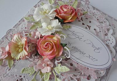 Ślubna kartka pastelowa