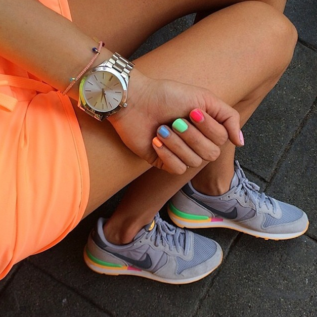 pretty nice e34ea a1420 Neon Orange Shorts (under  15 - size 6)    Nike Shoes (run a half size  small - color  grey green mango)    Michael Kors Watch
