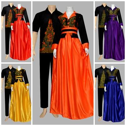 Model Gamis Batik Kombinasi Polos Kode D1920