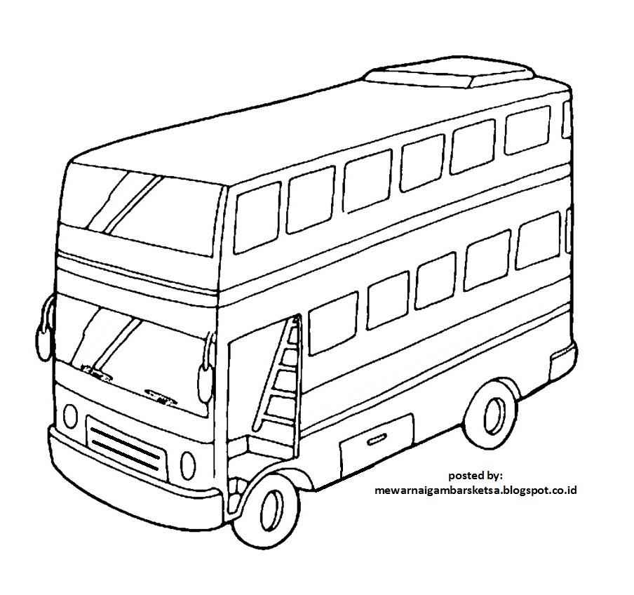Mewarnai Gambar Mewarnai Gambar Sketsa Transportasi Bus 2