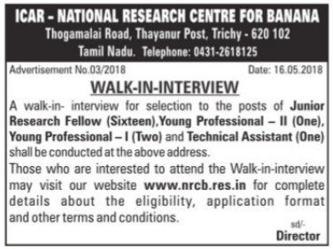Trichy Banana Institute - Walk in Interview for JRF & Technical Assistant Posts Notification May 20, 2018