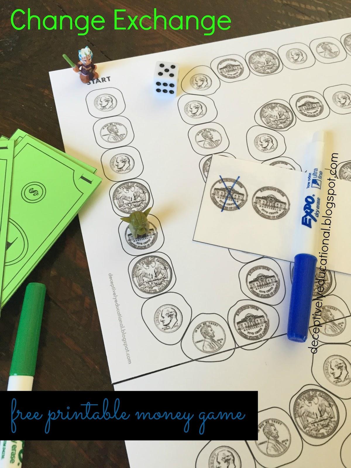 Change Exchange Free Printable Money Game Relentlessly Fun