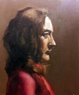 Oil painting of a woman with shoulder-length brown hair in a scarf and a pink top.