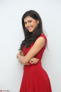 Mounika Telugu Actress in Red Sleeveless Dress Black Boots Spicy Pics 029.JPG