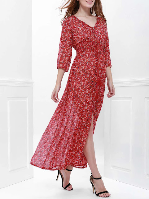 Printed High Slit Maxi Dress with Sleeves - Red