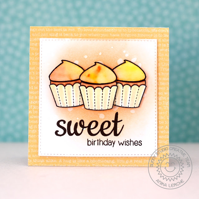 Sunny Studio Stamps: Sweet Shoppe Watercolored Cupcake Card by Anni Lerche.
