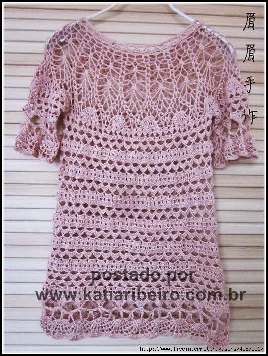 f23ca96f8 Blusa em crochê com gráfico - Katia Ribeiro Crochê Moda e Decoração