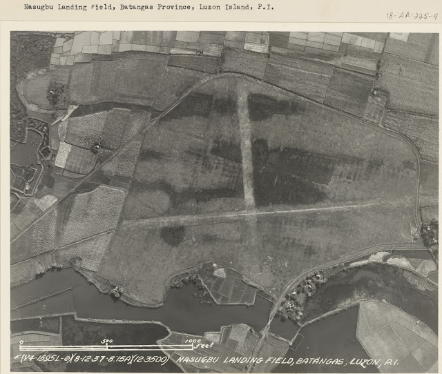 Aerial shot of the Nasugbu Landing Field taken in 1937.  Image source:  United States National Archives.