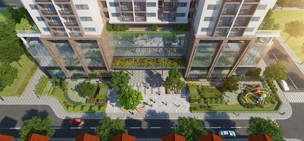 Khuôn viên, cảnh quan cây xanh được bố trí tại Eco Dream