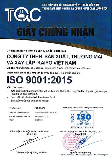 giay chung nhan dat chuan Iso 9001:2015 kaiyo