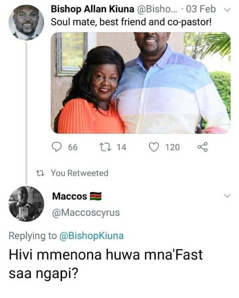 4 - LOL! Aki Kenyans, Bishop KIUNA flaunted his wife and the response from this guy will crack your ribs.