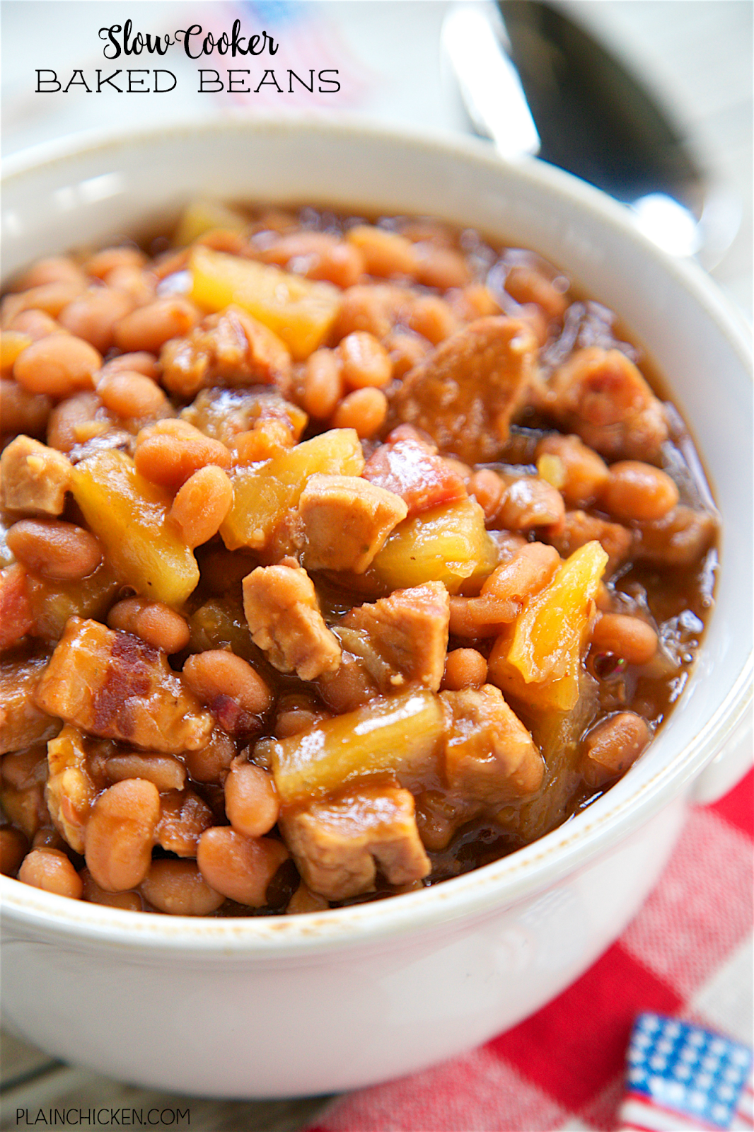 Slow Cooker Pineapple Baked Beans - Plain Chicken