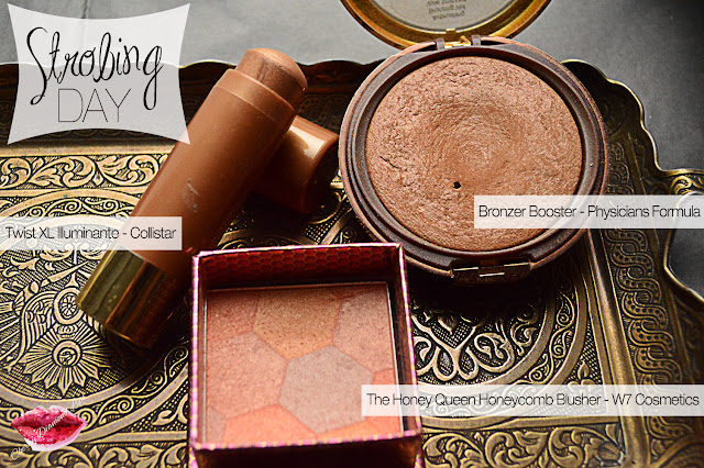 Twist Xl Illuminante Collistar, Bronze Booster Physicians Formula, The Honey Queen HoneyComb Blush, Highlighter Golden Lights - Makeup Revolution, Gold Dust Finish -Jade Minerals