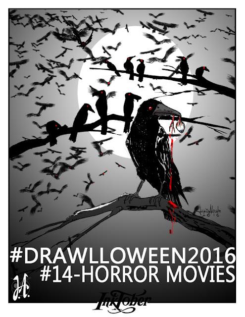 drawlloween-inktober-horror-movies-gli-uccelli-lucyowlart