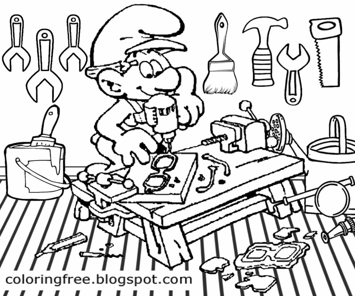 Online coloring tools - Online Game Facebook Smurfs Co Art Workshop Handy Smurf Coloring Page Boys Drawing With Hand