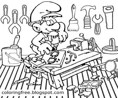 Online game Facebook Smurfs & Co art workshop Handy Smurf coloring page boys drawing with hand tools