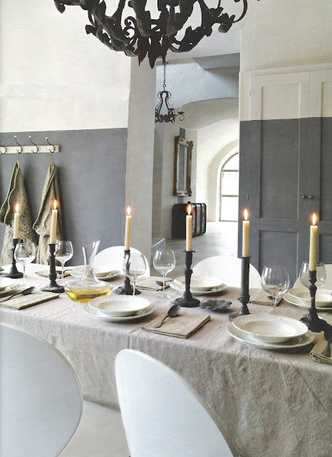 Tablesetting via Côté Sud Magazine, edited by lb for linenandlavender.net