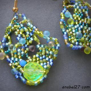 Нежные фриформ-серьги в сине-зеленых тонах - 202 / 365