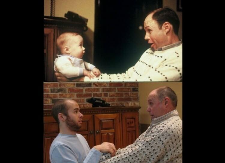 20 Hilarious Before And After Pictures Made By Adults Who Reminisced Their Childhood Years - Dad still has the same look on his face.