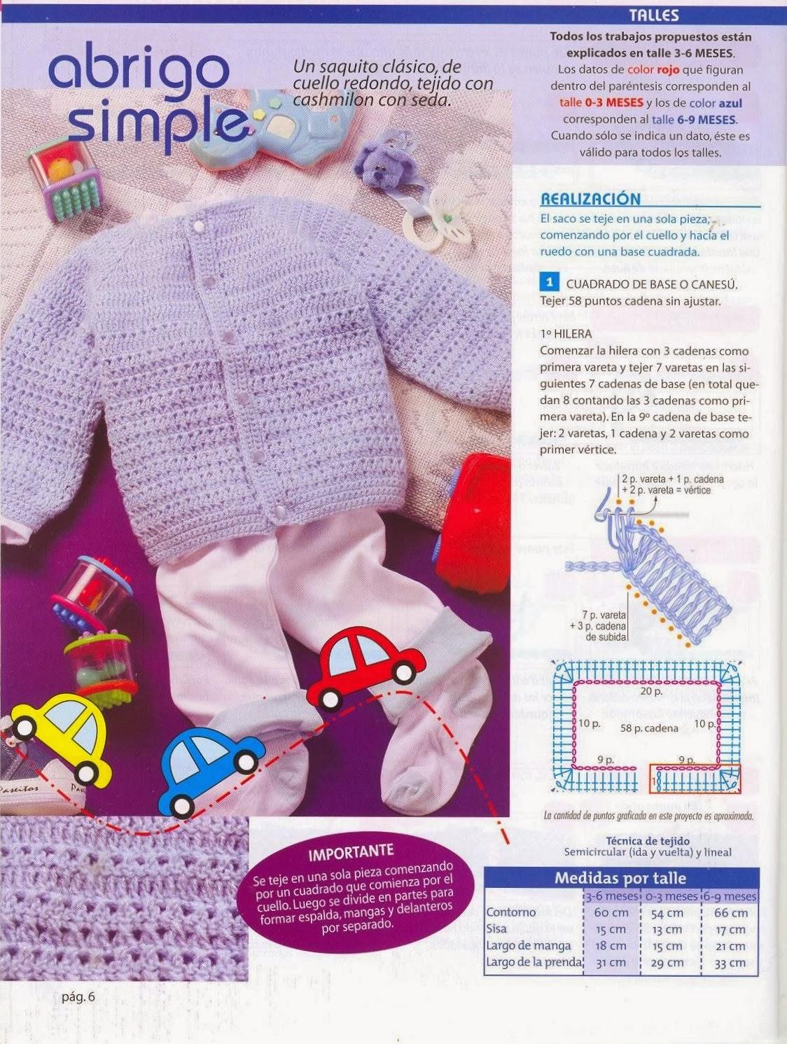Abrigo Infantil de 3 a 6 meses Tricot-Crochet