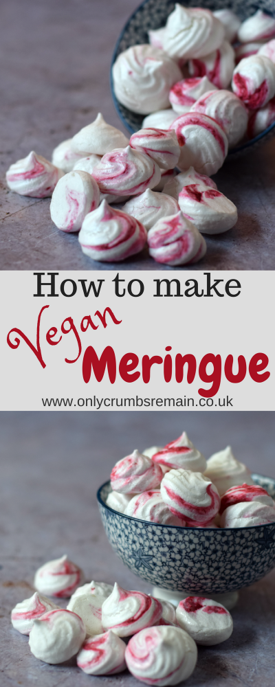 How to make vegan meringues with aquafaba.  These egg free meringue kisses have a pretty raspberry swirl which tastes amazing.