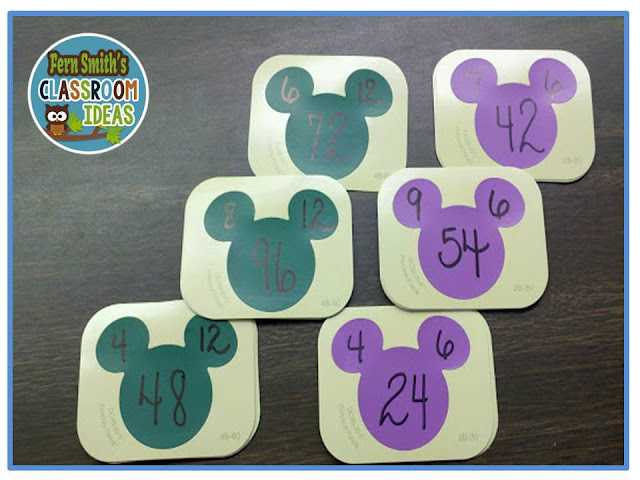 Fern Smith's Classroom Ideas  FREE Disney Paint Sample Flash Cards for Addition & Subtraction, as well as Multiplication & Division. Use different colors for each fact family!