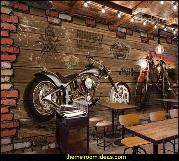 Vintage Style Unique Motorcycle Pattern Home Decorative Waterproof 3D Wall Murals