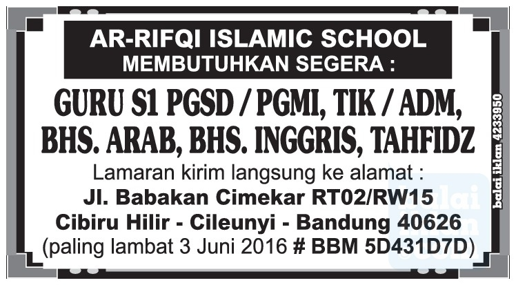 Lowongan Kerja Guru Ar Rifqi Islamic School Bandung Mei 2016