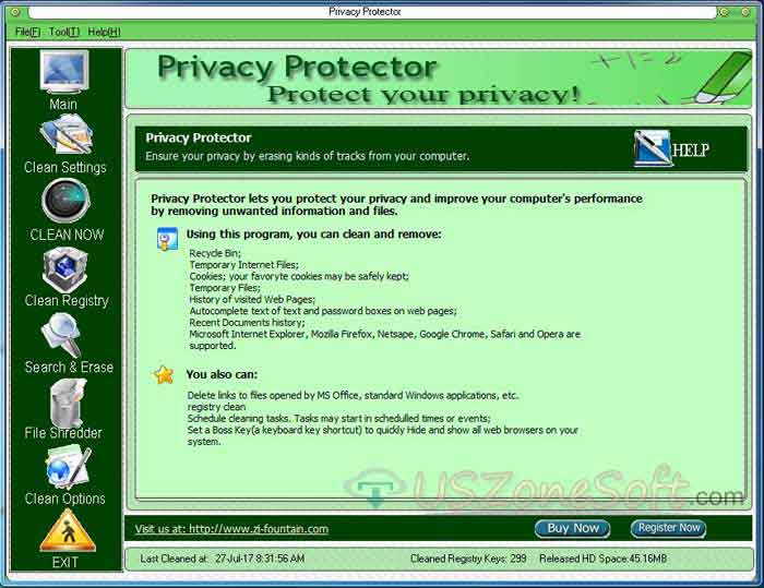 Privacy Protector main screen