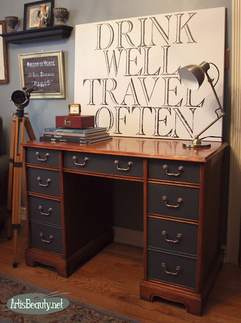 diy queenstown gray general finishes executive bohemian desk makeove home decor boho chic before and after