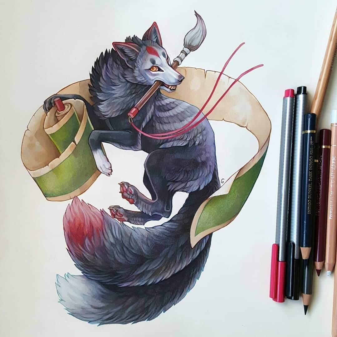 11-Two-Tailed-Fox-Grace-Fantasy-Animals-Colored-Pencils-Drawings-www-designstack-co