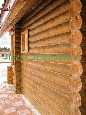 Конопатка стен сруба Клясино.
