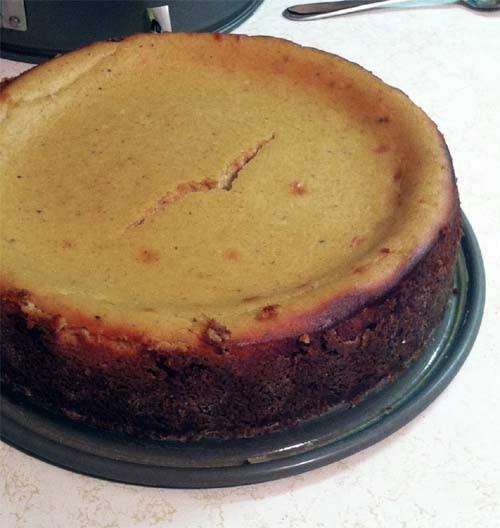 Easy Pumpkin Cheesecake. Cracked but still tastes fantastic. Use a waterbath next time.