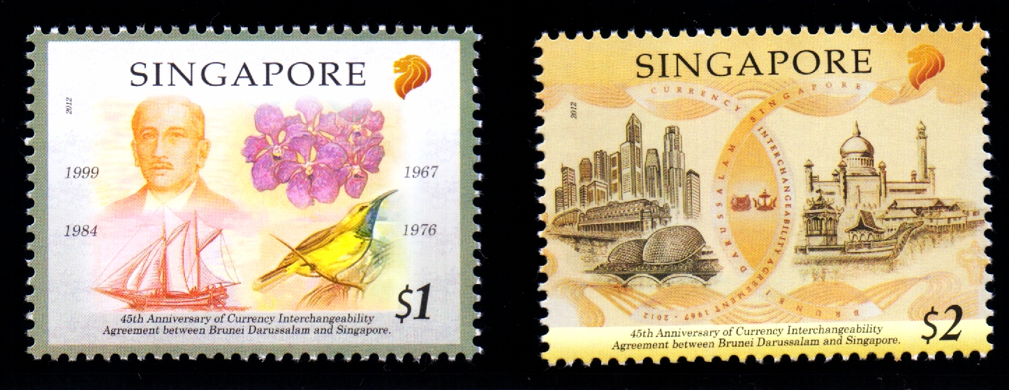 Singapore-Brunei Joint Issue - StampsThe 40th CIA anniversary commemorative note on the S$2, and the Singapore currency notes on the S$1 stamp.