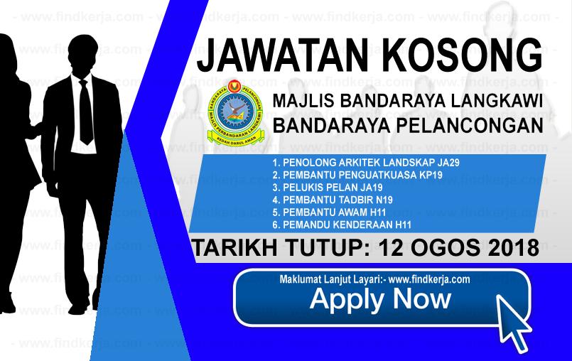 Jawatan Kerja Kosong MPLBP - Majlis Perbandaran Langkawi Bandaraya Pelancongan logo www.ohjob.info www.findkerja.com ogos 2018