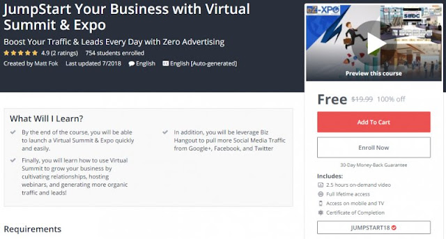 [100% Off] JumpStart Your Business with Virtual Summit & Expo| Worth 19,99$