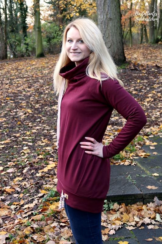 Pullover Tante Herta mit Kragen aus bordeaux rotem Sweat Schnittmuster von Echt Knorke Nähblog