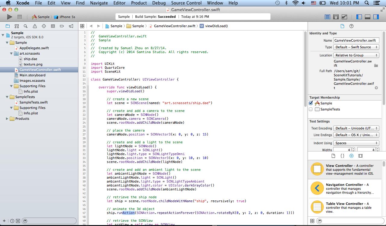 Samtina Studio: SceneKit Tutorial Part 1 - Create a SceneKit Project