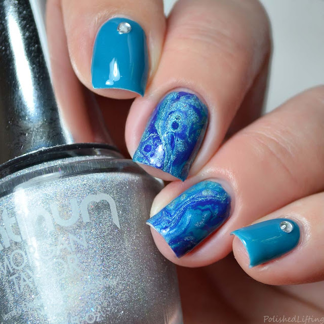 blue fluid nail art