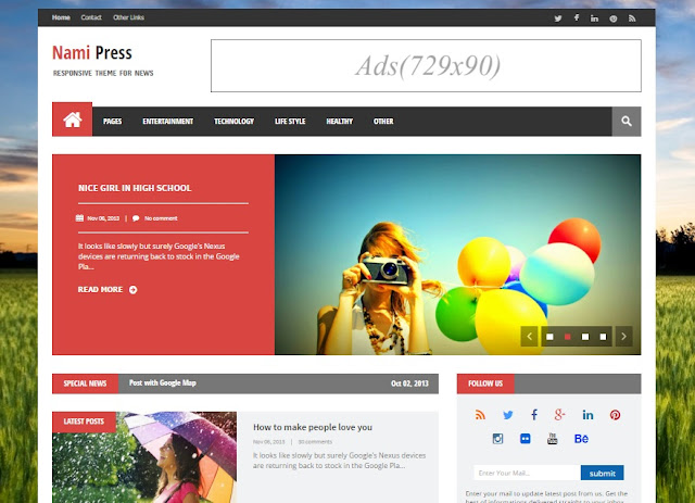 Nami Press Responsive Blogger Template Free Download