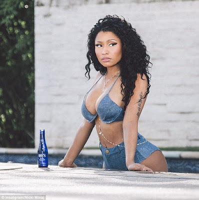 Nicki Minaj denim bikini poolside photoshoot