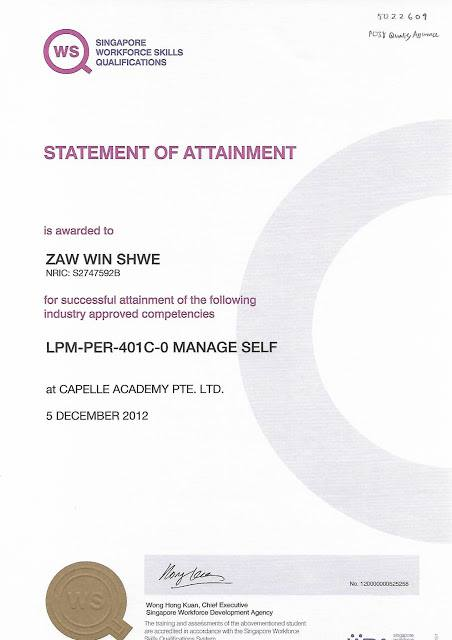 Certificate in Manage Self