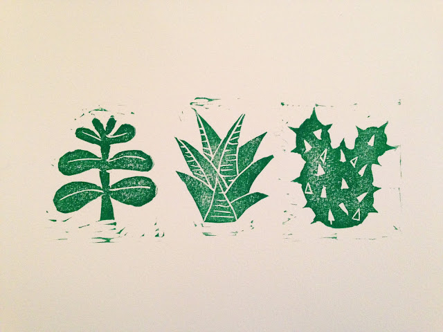 Cactus and Succulent Lino print by we laugh indoors